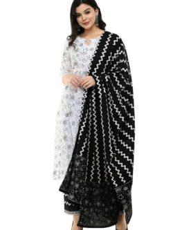 White Black kurti with lehariya Dupatta